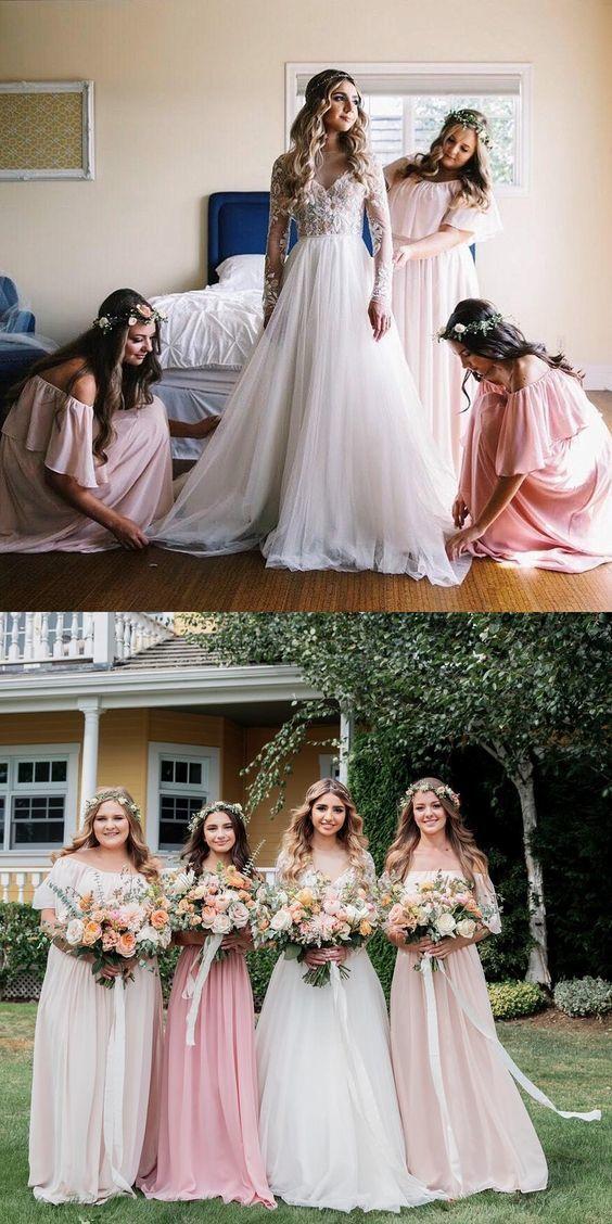 3870576b0ab simple pearl pink long bridesmaid dresses