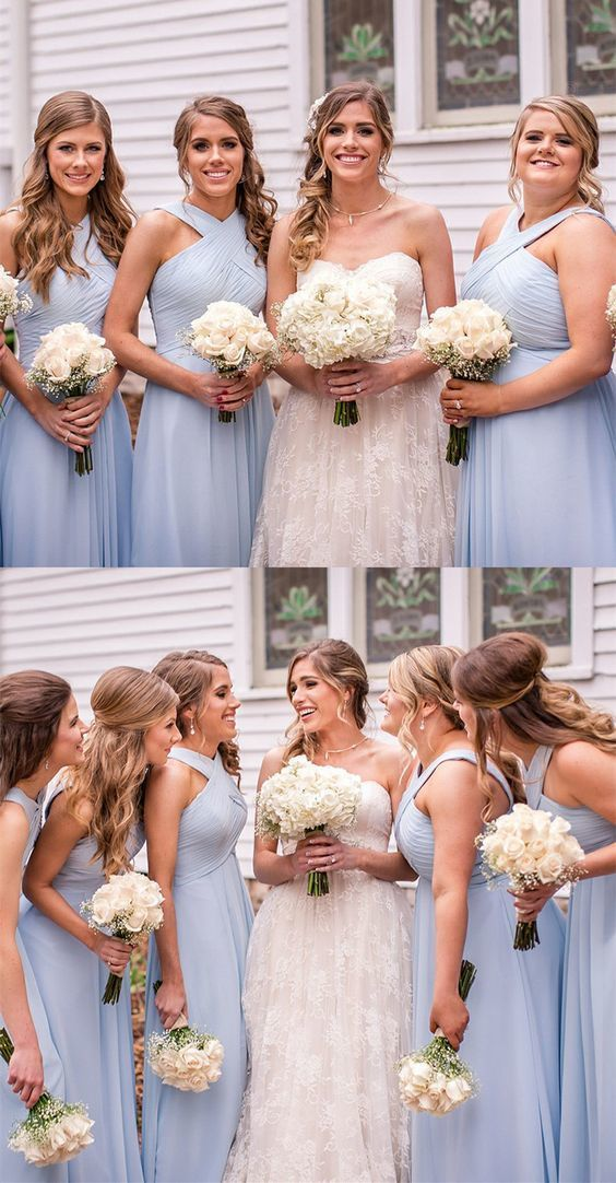 modest light blue long bridesmaid dresses, unique corss neck backless wedding