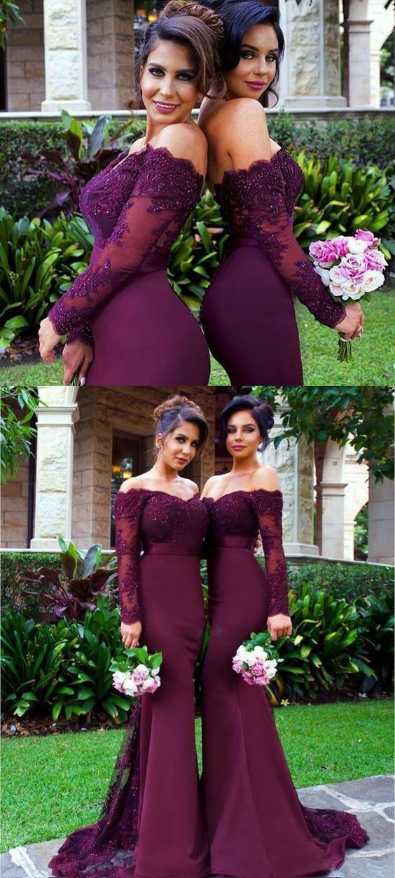 Mermaid Off-the-Shoulder Long Sleeves Sweep Train Bridesmaid Dress with Lace