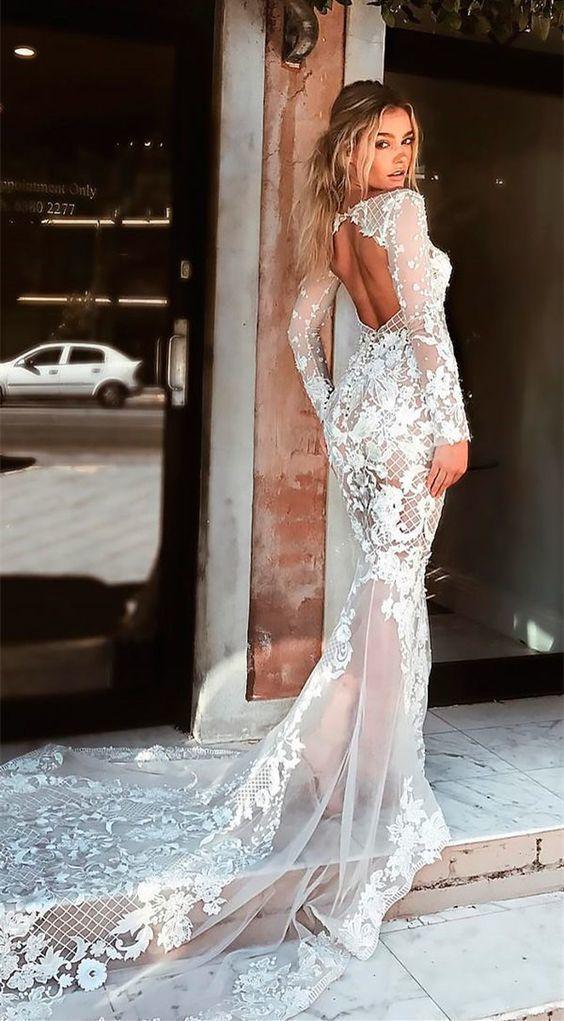 Mermaid Bateau Open Back Sweep Train Beach Wedding Dress with Appliques