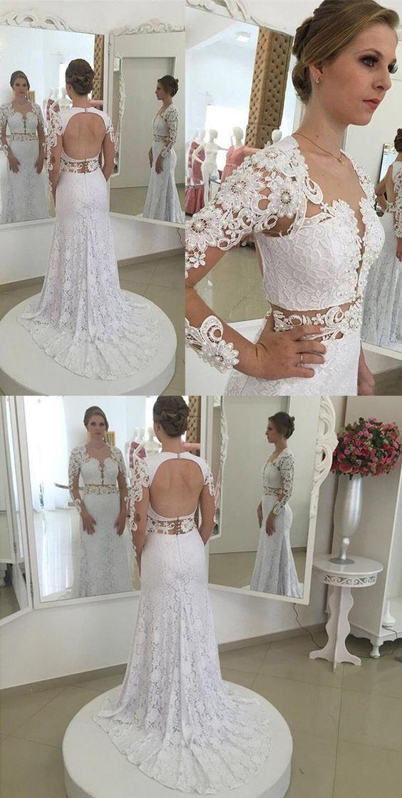 Modern Sheath Long Lace Wedding Dress - Scoop by formalgowns on Zibbet