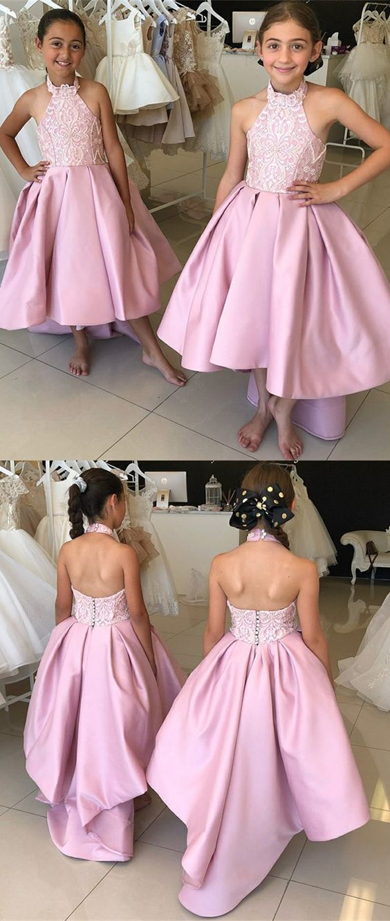 A-Line Halter Backless Rose Pink Flower Girl Dress with Appliques