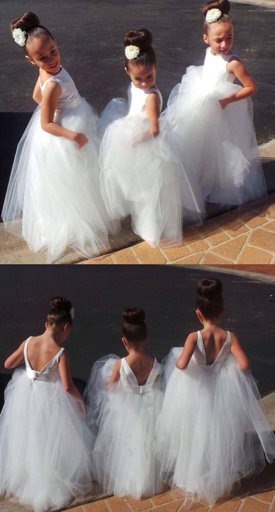 A line bateau backless white tulle flower girl by formalgowns on a line bateau backless white tulle flower girl dress with lace mightylinksfo