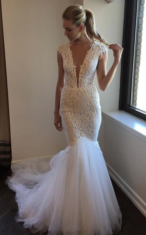High Quality Cut Low V-Neck Lace Mermaid by formalgowns on Zibbet