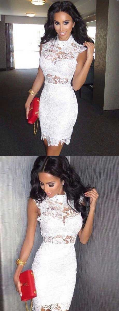 3a97778a0c Bodycon High Neck Short White Lace Homecoming by formalgowns on Zibbet