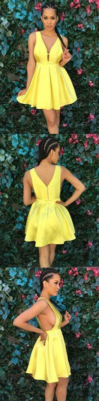 dd7469ddea0 A-Line Deep V-Neck Keyhole Short Sleeveless Yellow Satin Homecoming Dress