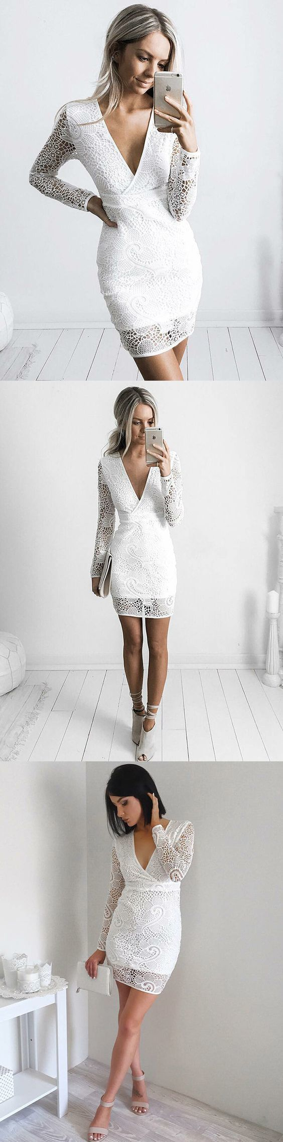 706253b49c1 Sheath V-Neck Long Sleeves Short White Lace Homecoming Cocktail Dress