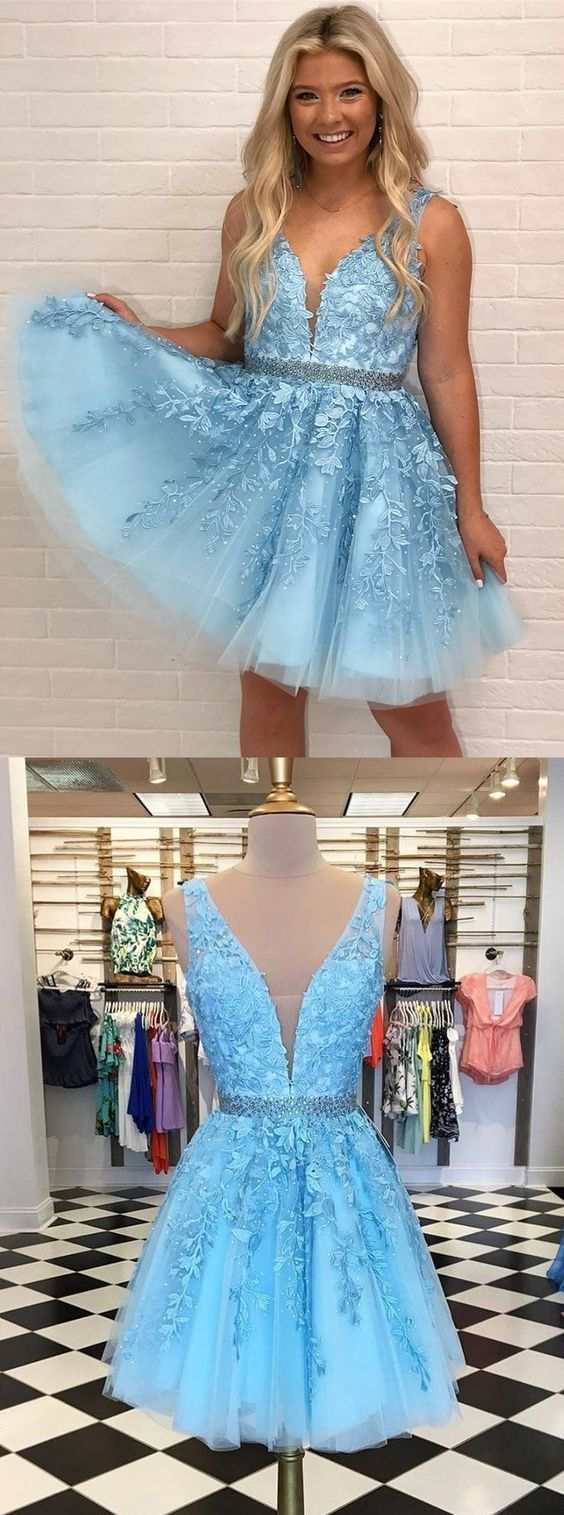 A-Line V-Neck Low Cut Blue Homecoming Prom by formalgowns on Zibbet