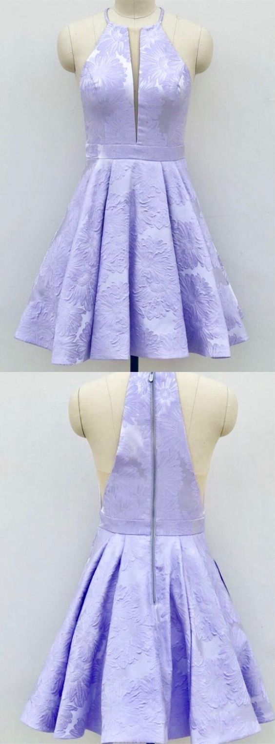 6d2a9e14adf A-Line Crew Above-Knee Lilac Satin Printed Homecoming Dress with Pockets