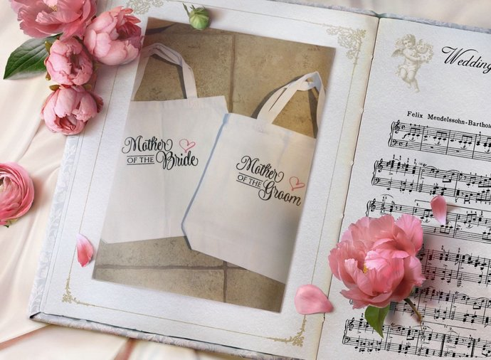 Bridal Party  Tote Bag -  Canvas - Mother of the Bride Gift, Wedding Tote Bags,