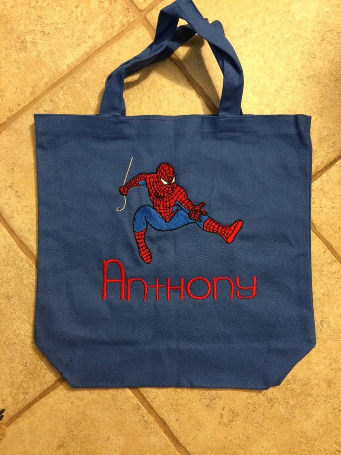 Spiderman Canvas Tote Bag,Halloween Bag, Trick or Treat Bag