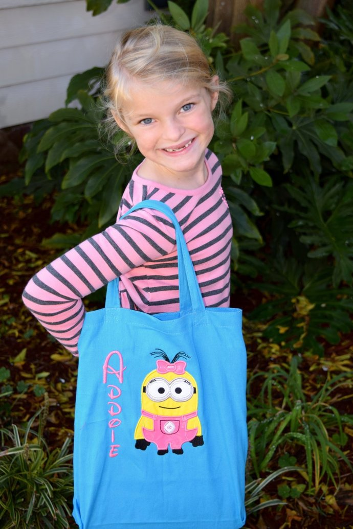 Personalized Girl  Minion  Large Tote Bag,Halloween Bag, Trick or Treat Bag