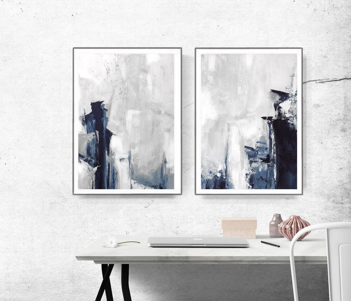 Grey Abstract Wall Art, Set of 2 Prints, Modern Abstract Art, navy and grey Art,