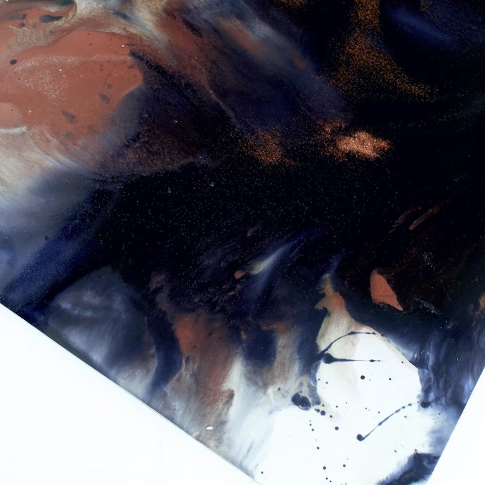 Original Fine Art Abstract, navy blue and copper, art blue abstract , design,