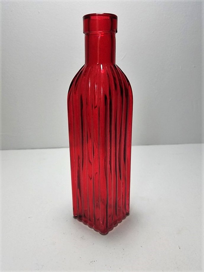 Red Colored Glass Square Bottle By Backwoods Lighting Llc On Zibbet