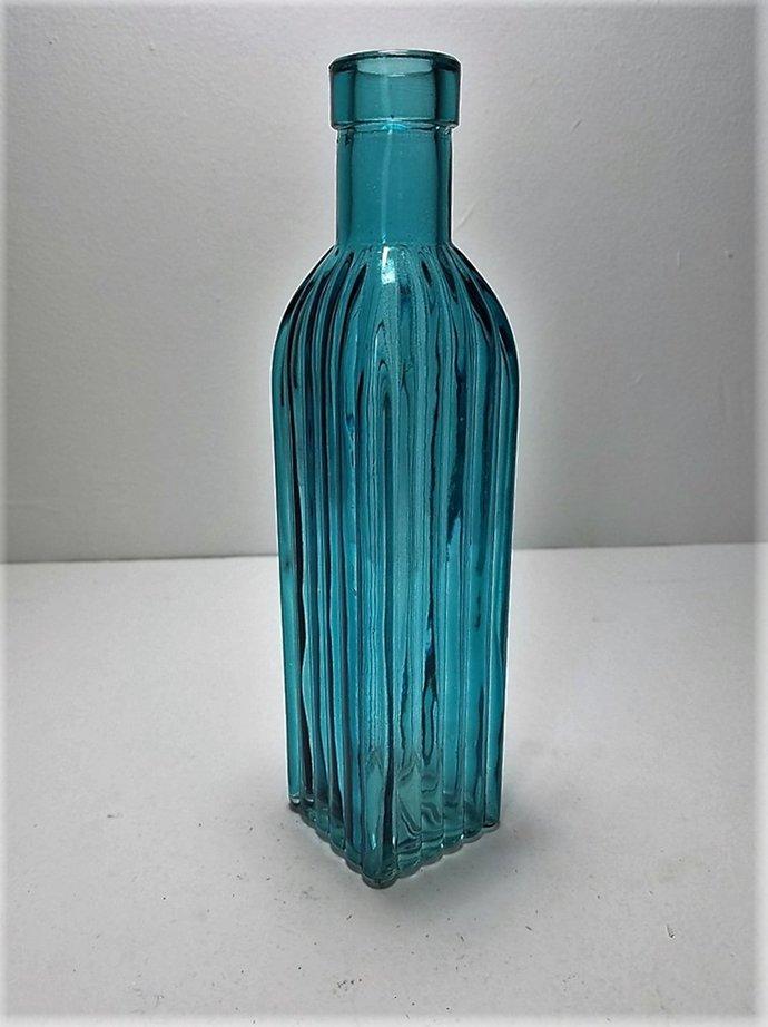 Teal Colored Glass Square Bottle By Backwoods Lighting Llc On Zibbet