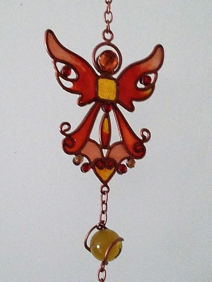 99367 Gem Copper Toned Wind Chime with Orange Angel By Backwoods Lighting LLC