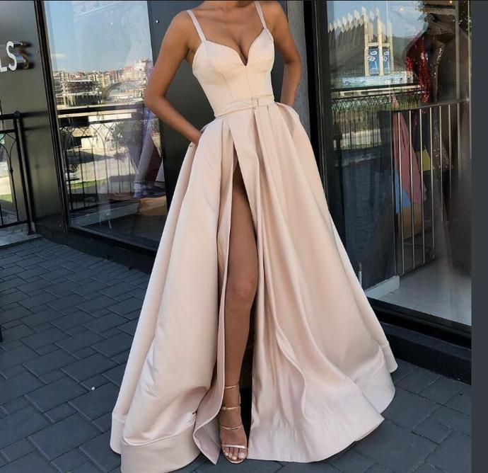 Champange Prom Dress 2018,Satin Evening Dress,Spaghetti Straps Split Prom Dress