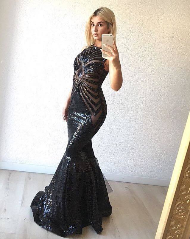 Sexy Sequin Long High Neck Mermaid Prom Dresses 2018