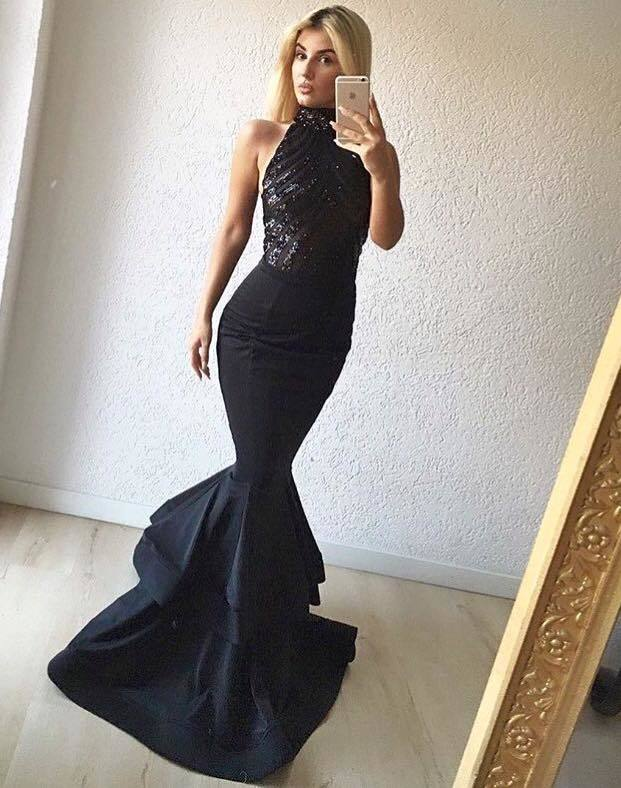 Sexy Sequin and Satin  Long  Mermaid Prom Dresses 2018