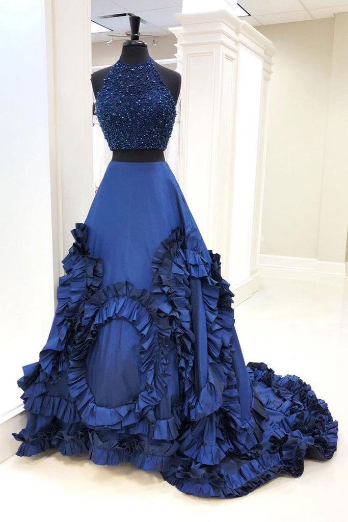 Two Pieces Royal Blue long prom dress, evening dress,prom dresses G17