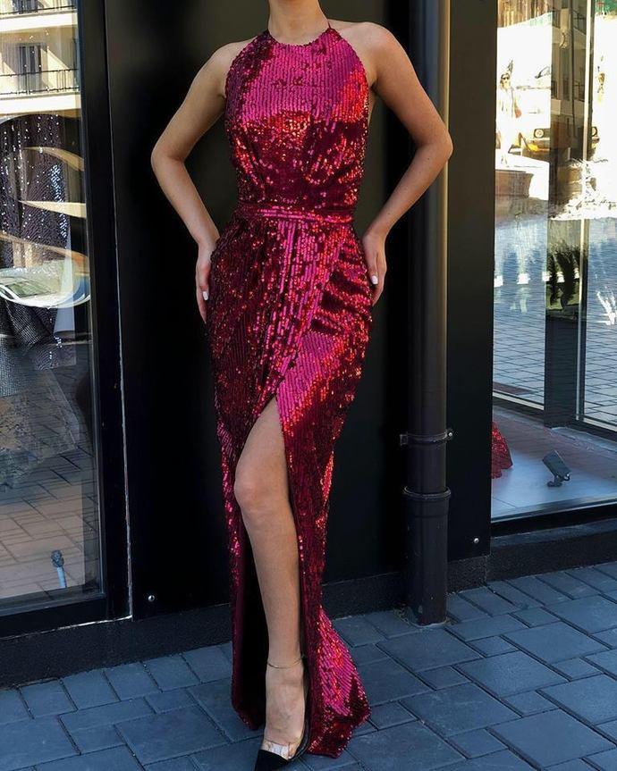 Burgundy Long Sequin High Neck Mermaid with Split Evening Dress/Prom Dresses