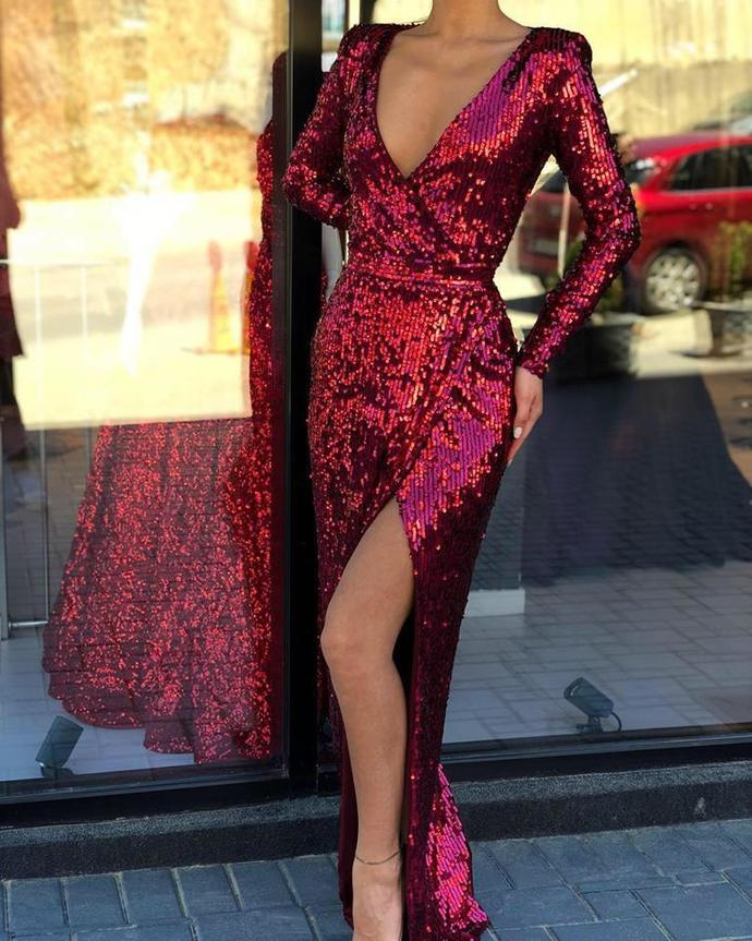 Burgundy Long Sleeves Sequin V Neck Mermaid With Lass