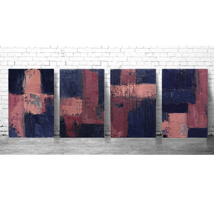 set of 4 abstracts, navy abstract, original painting, Wall Art, Modern Art