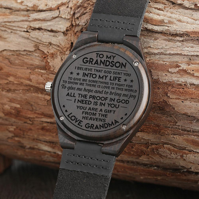 Men Watch - Great Gift For Grandson Engraved Wooden Watch