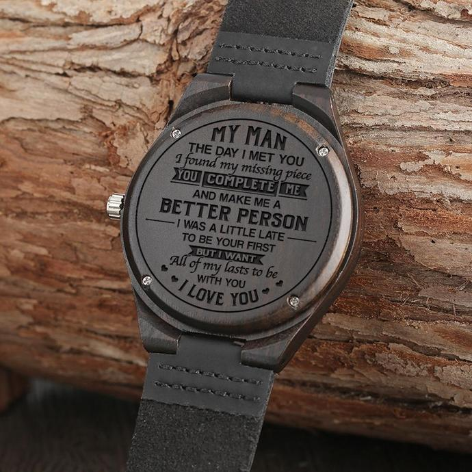 Men Watch - Great Gift For Your Husband Engraved Wooden Watch
