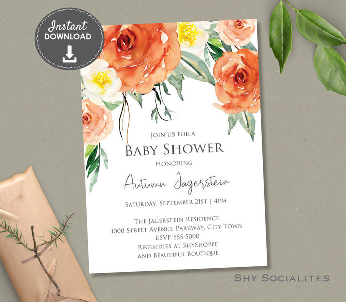 Autumn Floral Baby Shower Invitation   Greenery, Fall   Instant Download