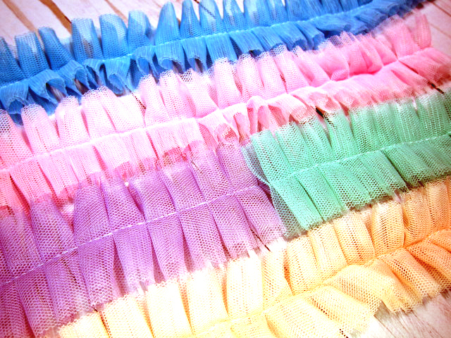 """stl 1 yd Tulle Trim/Lace Ruffled Pleated Shabby Chic - 1 5/8"""" White, Blue, Pink,"""
