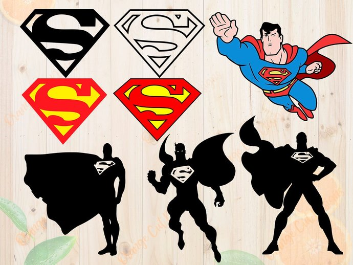Superman Svg, Superman Cutfiles: Svg, Dxf, Eps, Png files,Layered superman svg