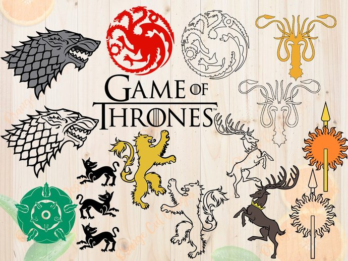 Game of thrones Svg, Game of thrones Cut files: Dxf, Eps & Png clipart, Stark