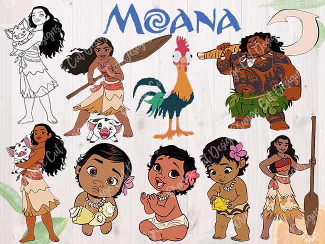 Moana Svg Baby Moana Maui Cutfiles Dxf Svg By