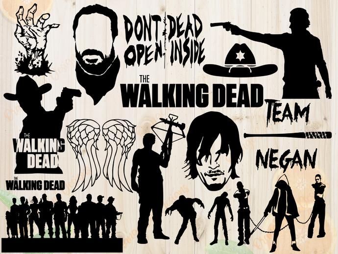 The walking dead SVG files, Zombie cut files, The walking dead Clipart, DXF