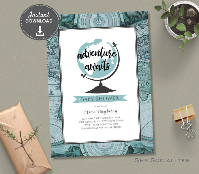 Adventure Awaits Globe Baby Shower Invitation | Travel, Map | Instant Download