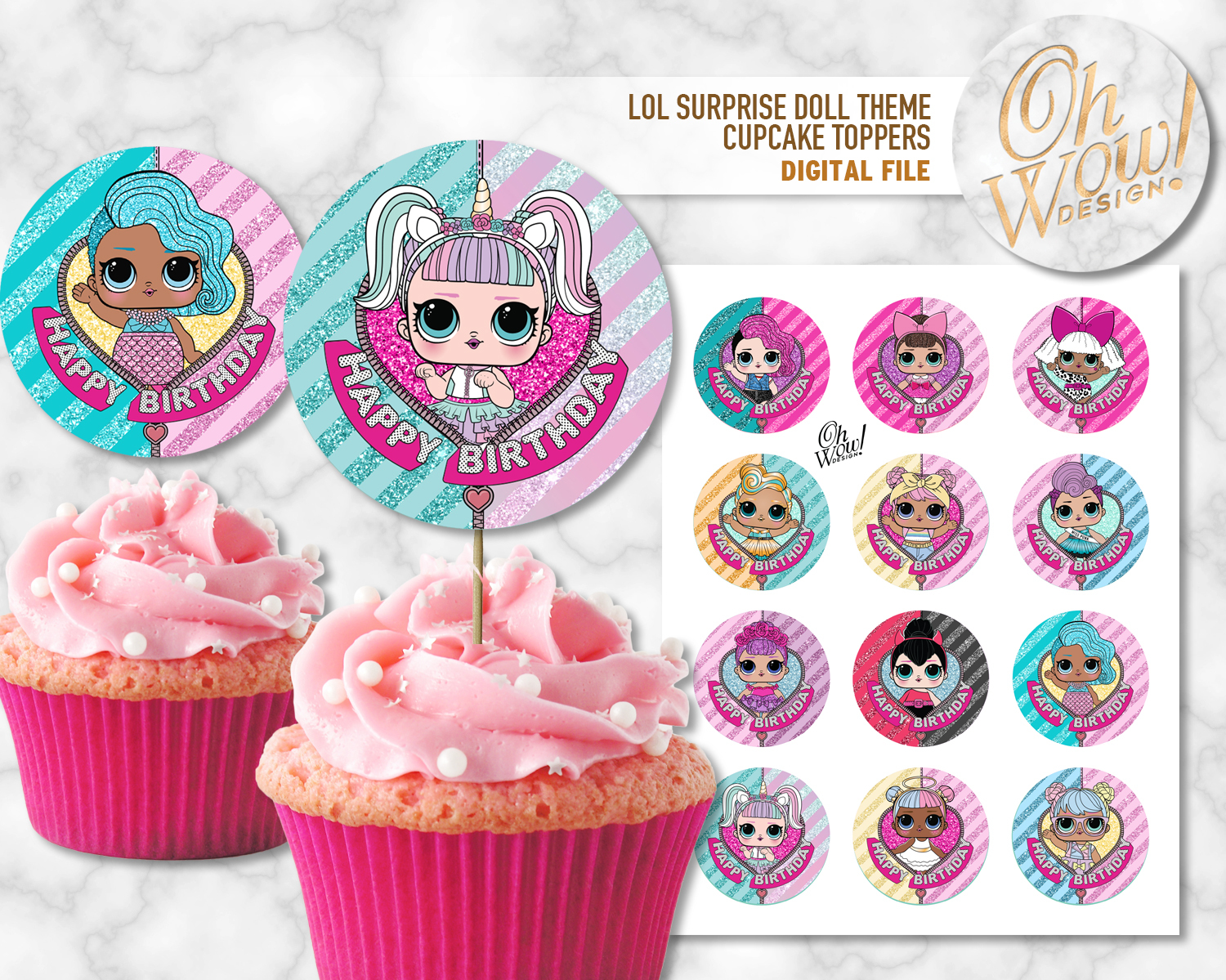 LOL Surprise Theme Cupcake Toppers: Digital by OhWowDesign on Zibbet