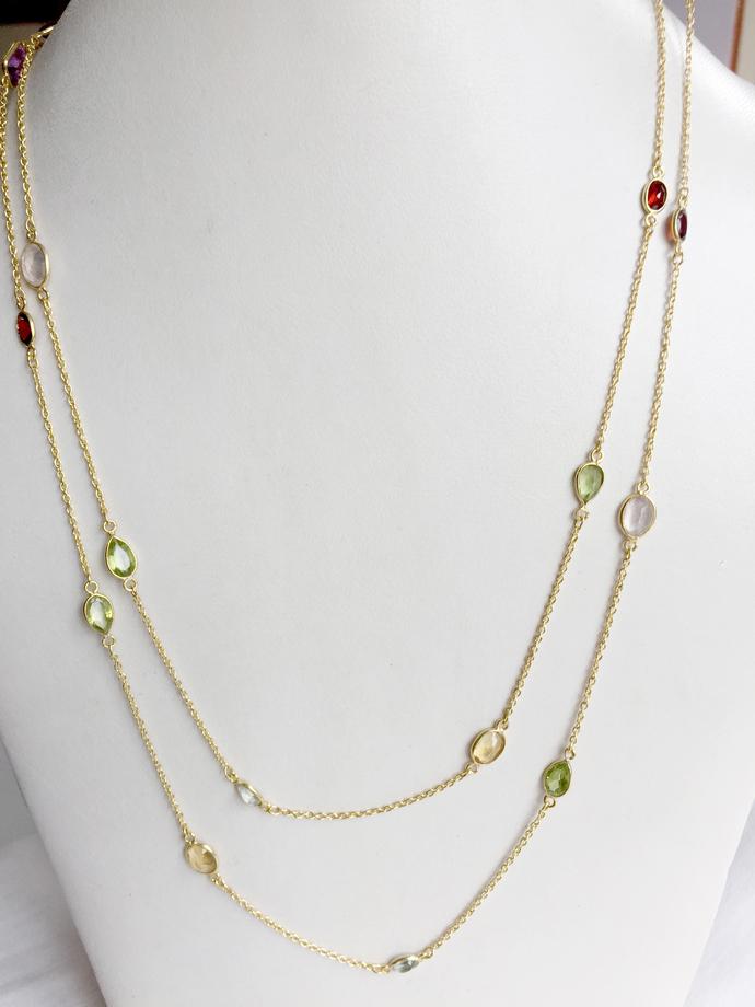 925 Sterling Silver Semi Precious Mulit Color Semi Precious stone Chain Jewelry