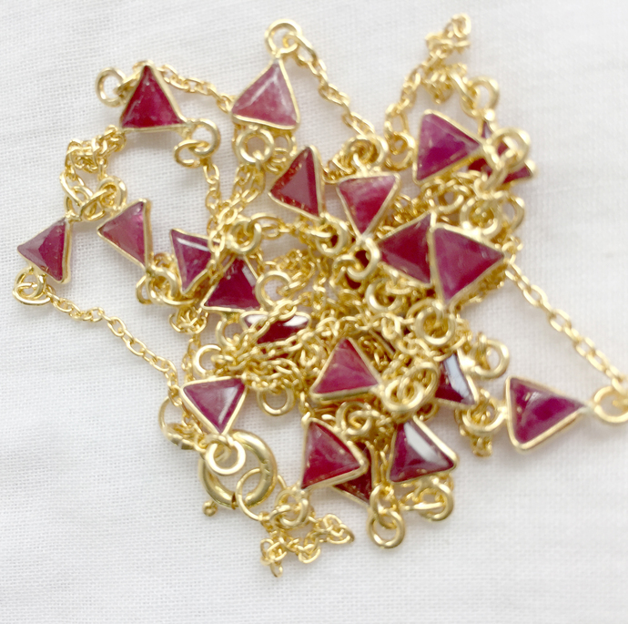 Extraordinary ! 925 Sterling Silver  Precious Natural Ruby  stone Chain Jewelry