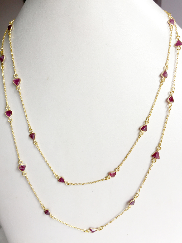 Beautiful !925 Sterling Silver  Precious Natural Ruby  stone Chain Jewelry