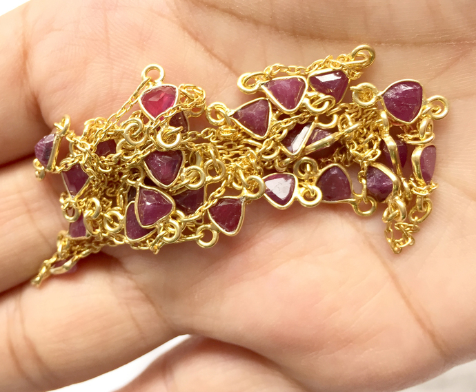 Stunning !  925 Sterling Silver  Precious Natural Ruby  stone Chain Jewelry