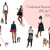 Watercolour fashion illustration clipart - Girls with Dogs 2 - Dark Skin