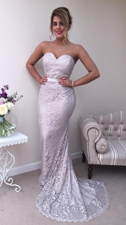 Charming Prom Dress, Sweetheart Neck Lace Mermaid Prom Dresses, Long Evening