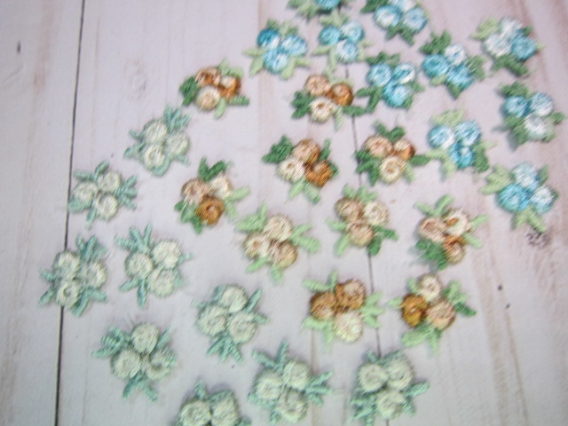 "10pc Tiny Rose Embroidered Applique Flowers - 5/8"" Mint, Aqua, Beige"