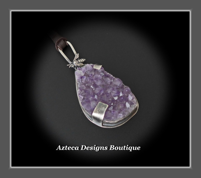 Bee Sparkling~Amethyst Druzy Crystal Sterling Silver Hand Fabricated Bee Pendant