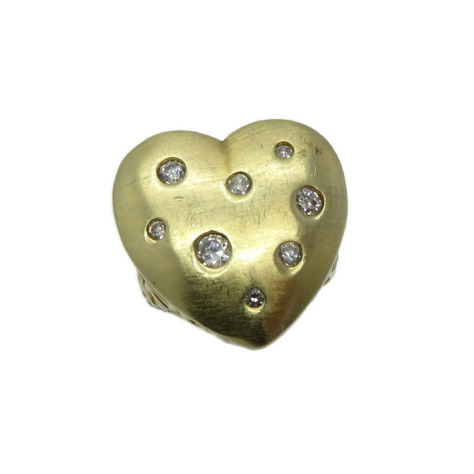 Vintage Sterling Silver Heart Ring, Gold Plated CZ Studded Ring