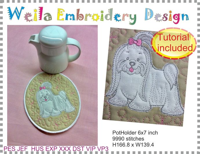 Maltese Dog coasters pot holder Machine Embroidery Design kitchen in the hoop