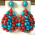 925 Sterling Silver Coral Turquoise Diamond Danglers Long Earring Jewelry
