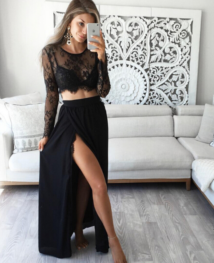 Black Long Sleeve High Slit Two Piece Prom Dress, Long Dress With Sheer Back